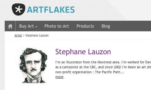 Stephane Lauzon vend des affiches Artflakes