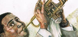 Stephane Lauzon Illustration, stephanelauzonillustration.com, Louis Armstrong