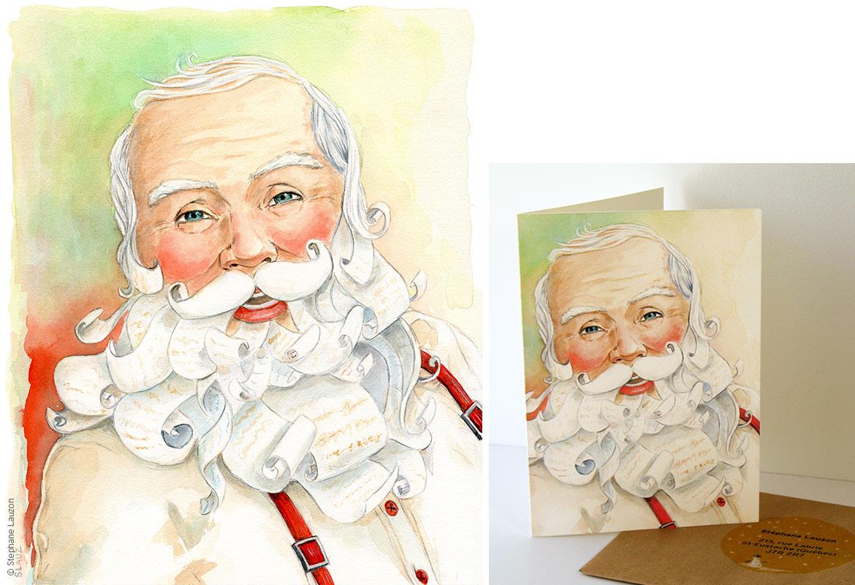 Carte de Noël par Stéphane Lauzon illustration
